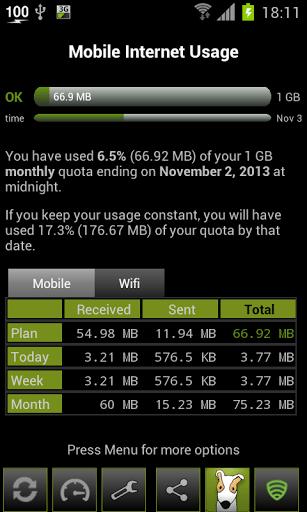 Скриншот 3G Watchdog — Data Usage для Android