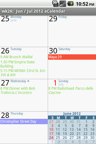 Скриншот aCalendar — Android календарь для Android