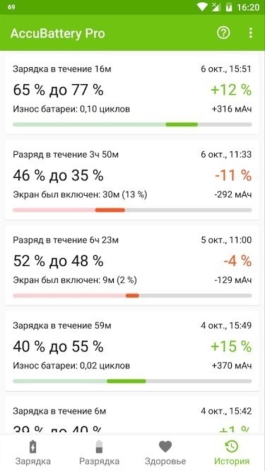 Скриншот AccuBattery для Android