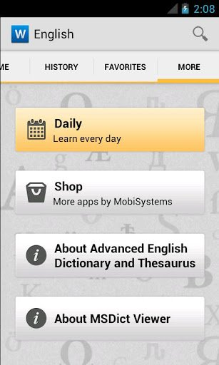 Скриншот Advanced English & Thesaurus для Android