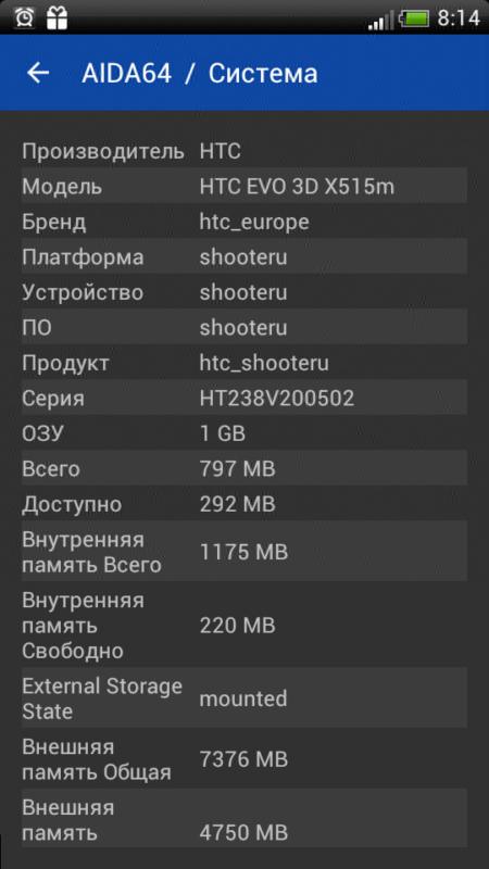 Скриншот AIDA64 для Android