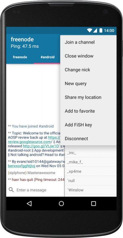 Скриншот AndroIRC для Android