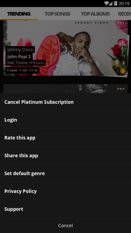 Скриншот Audiomack для Android