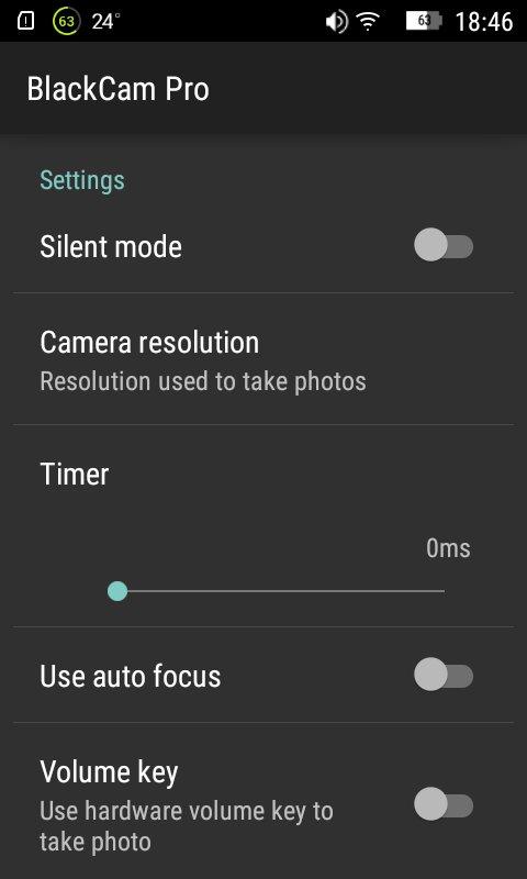 Скриншот BlackCam Pro для Android