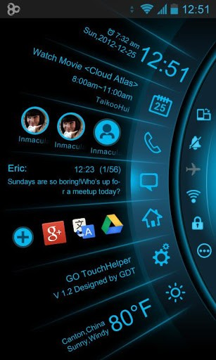Скриншот Blue Light Toucher Theme GO для Android