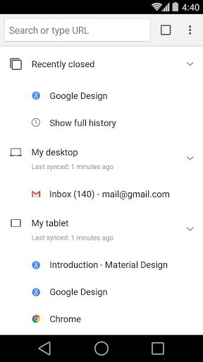 Скриншот Chrome Dev для Android