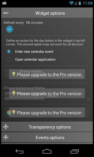 Скриншот Clean Calendar Widget для Android