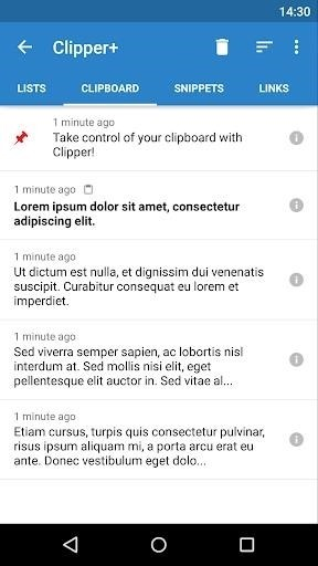 Скриншот Clipper — Clipboard Manager для Android