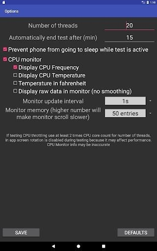 Скриншот CPU Throttling Test для Android