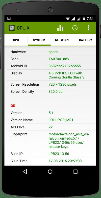 Скриншот CPU X для Android
