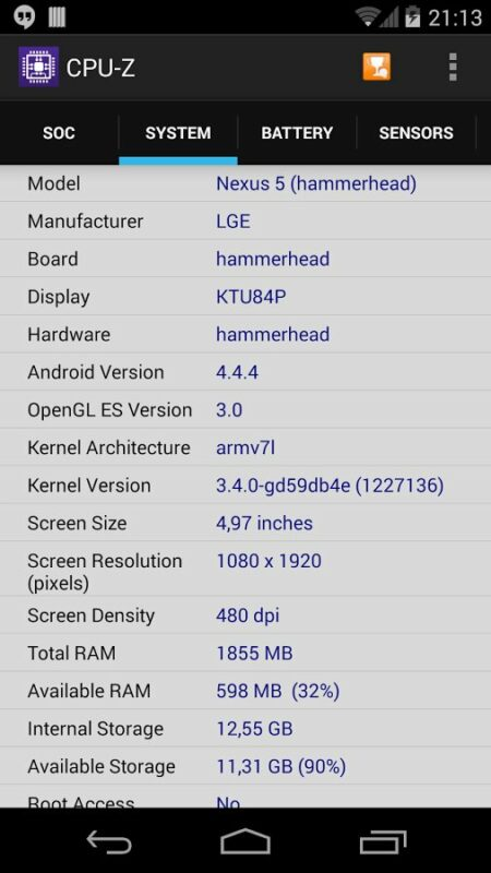 Скриншот CPU-Z для Android