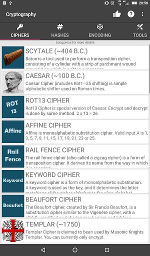 Скриншот Cryptography для Android