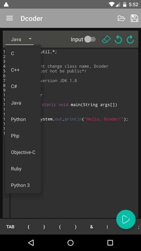 Скриншот Dcoder, Mobile Compiler IDE для Android