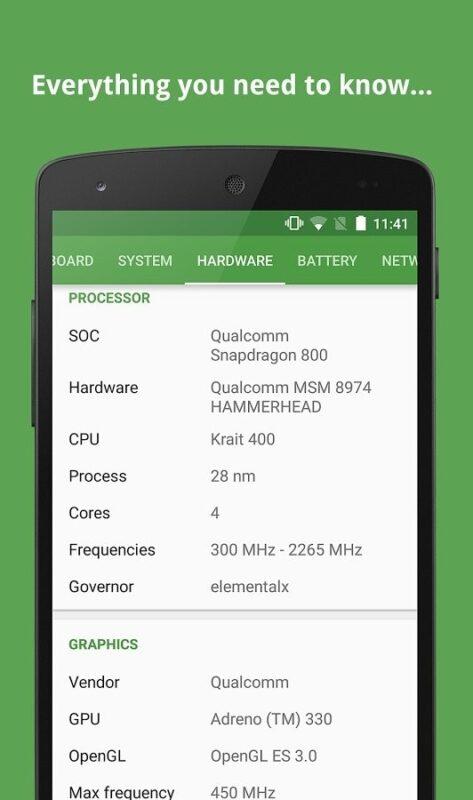 Скриншот DevCheck System Info для Android