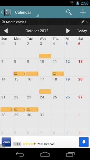 Скриншот Diaro — личный дневник для Android
