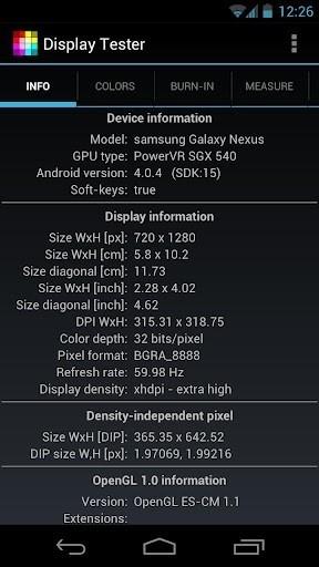 Скриншот Display Tester для Android