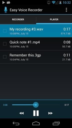 Скриншот Easy Voice Recorder для Android