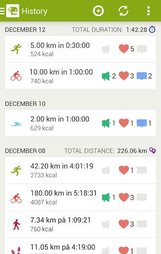 Скриншот Endomondo Sports Tracker для Android