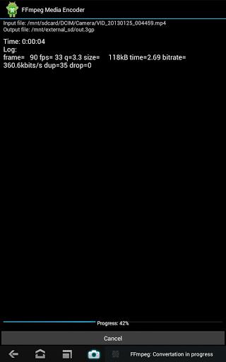 Скриншот FFmpeg Media Encoder для Android