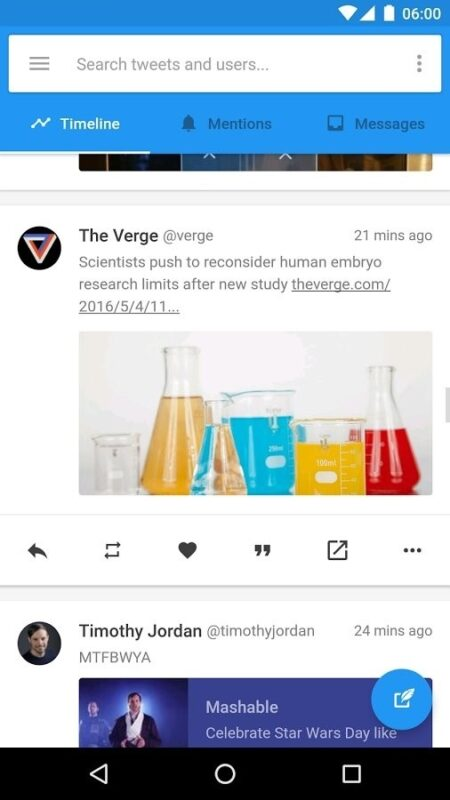 Скриншот Flamingo for Twitter для Android