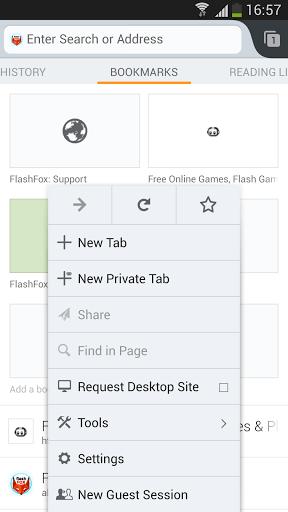 Скриншот FlashFox — Flash Browser для Android