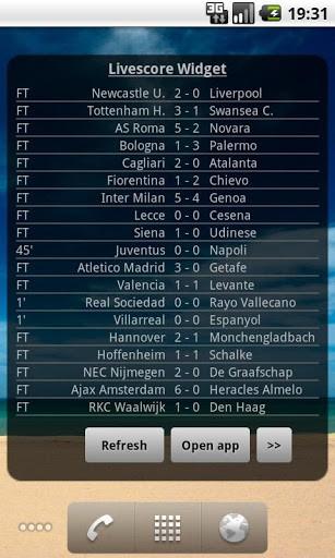 Скриншот футбольным счетом виджет для Android