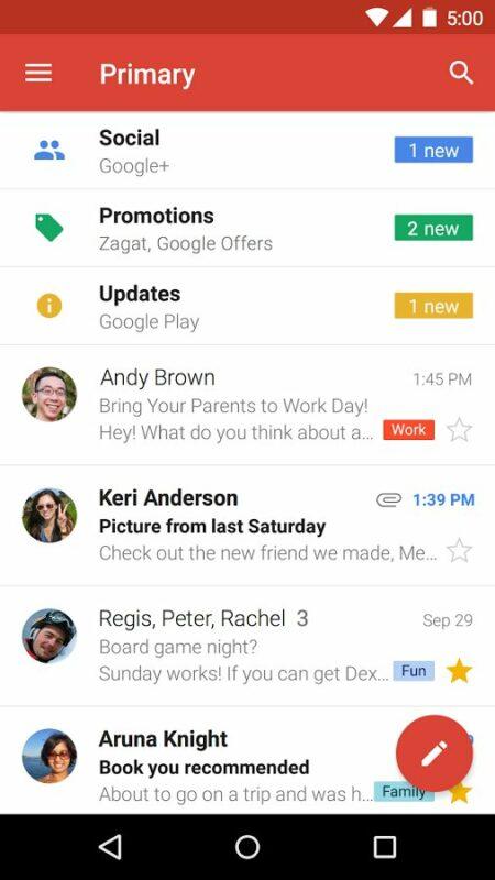 Скриншот Gmail для Android