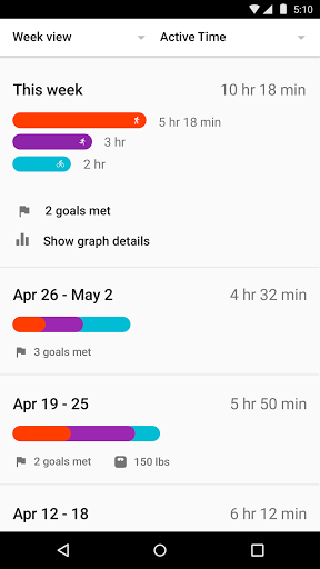Скриншот GoogleFit для Android