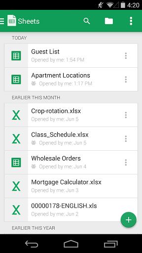 Скриншот Google Таблицы для Android