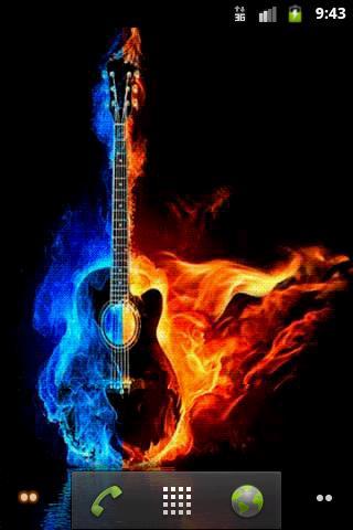 Скриншот Горящая гитара. Живые обои / Burning Guitar LWP для Android