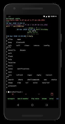 Скриншот Linux CLI Launcher для Android