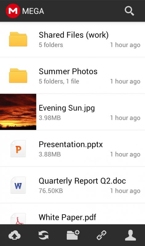 Скриншот MEGA для Android