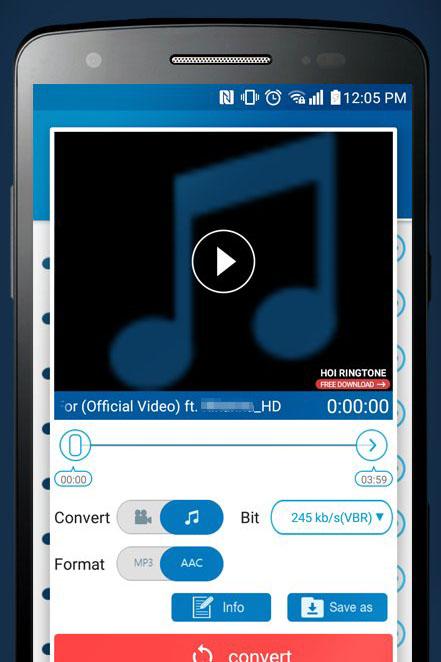 Скриншот MP3 Video Converter для Android