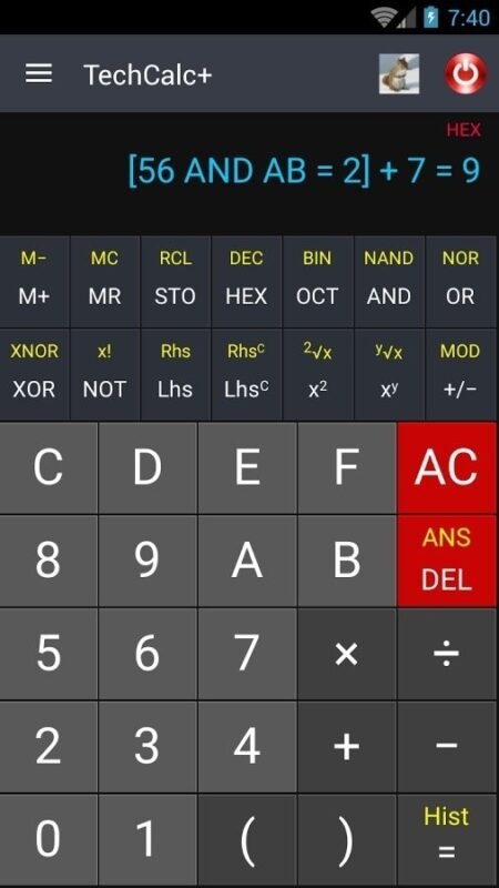 Скриншот Научный калькулятор для Android