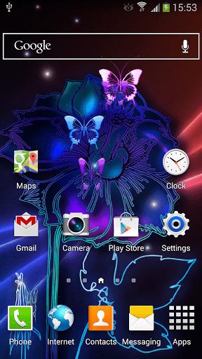 Скриншот Неоновые Бабочки Живые Обои / Neon Butterfly Live Wallpaper для Android