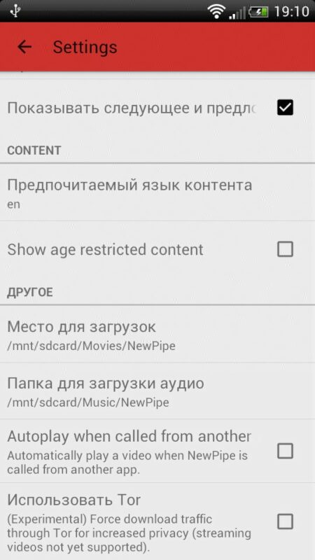 Скриншот Newpipe для Android