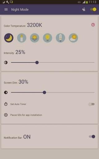 Скриншот Ночной режим: Фильтр синего света для Android