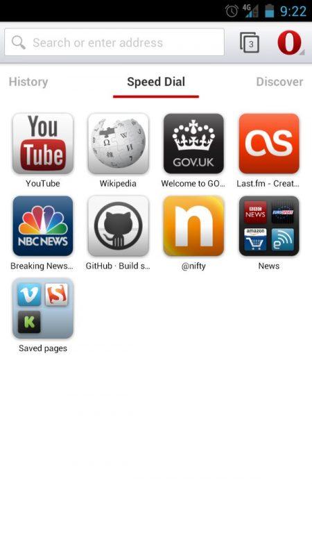 Скриншот Браузер Opera для Android