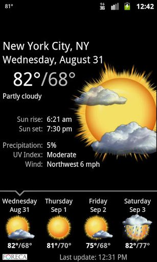 Скриншот Palmary Weather для Android