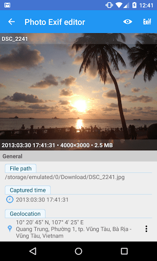Скриншот Photo Exif Editor для Android