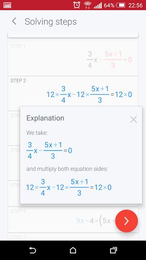 Скриншот PhotoMath для Android