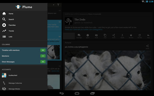 Скриншот Plume for Twitter для Android