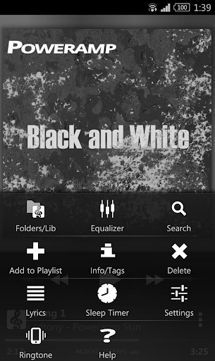 Скриншот Poweramp Black and White Skin для Android