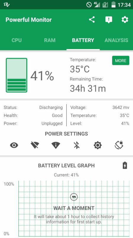 Скриншот Powerful System Monitor для Android
