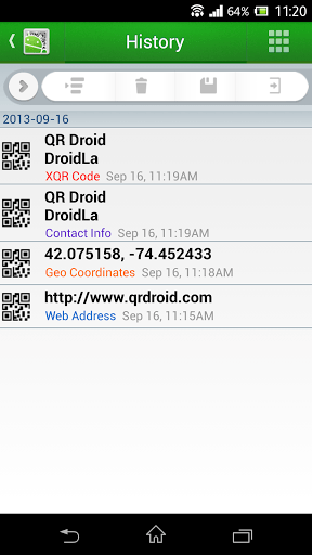 Скриншот QR Droid для Android
