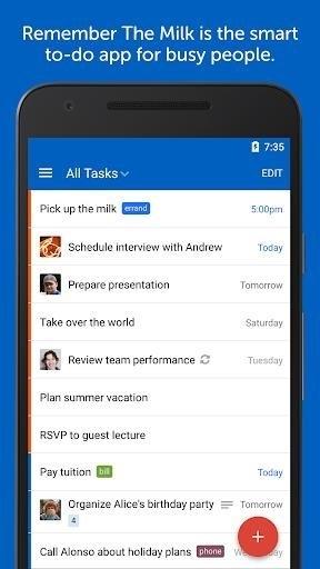 Скриншот Remember the Milk для Android