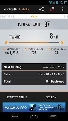 Скриншот Runtastic Push-Ups для Android