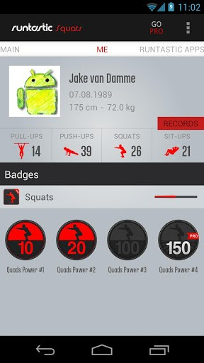 Скриншот Runtastic Squats для Android