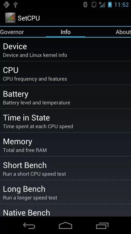 Скриншот SetCPU для Android