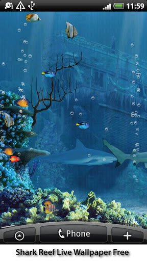 Скриншот Shark Reef Live Wallpaper Free для Android
